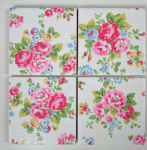 4 Ceramic Coasters in Cath Kidston Spray Flowers White